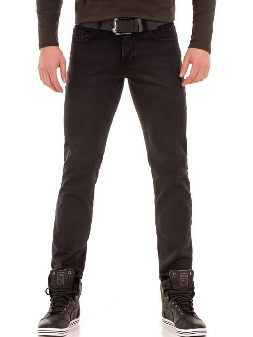 Мъжки класически дънки LACARINO с колан 4727 - тъмен деним