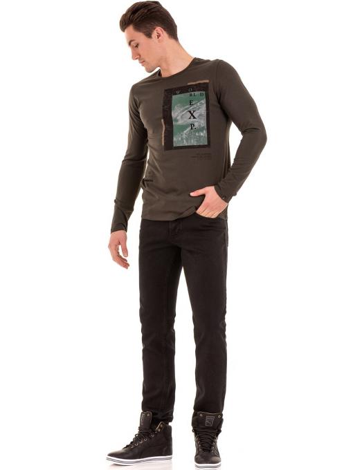 Мъжки класически дънки LACARINO с колан 4727 - тъмен деним C