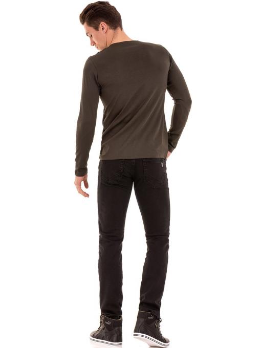 Мъжки класически дънки LACARINO с колан 4727 - тъмен деним E