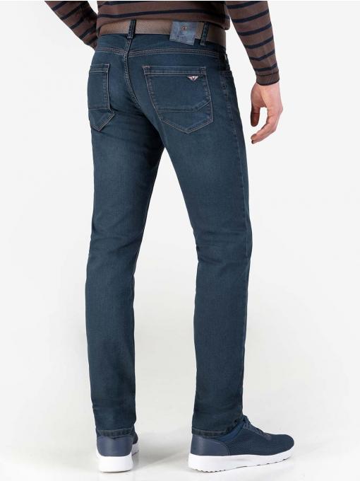 Прави мъжки дънки с колан 5032 INDIGO Fashion