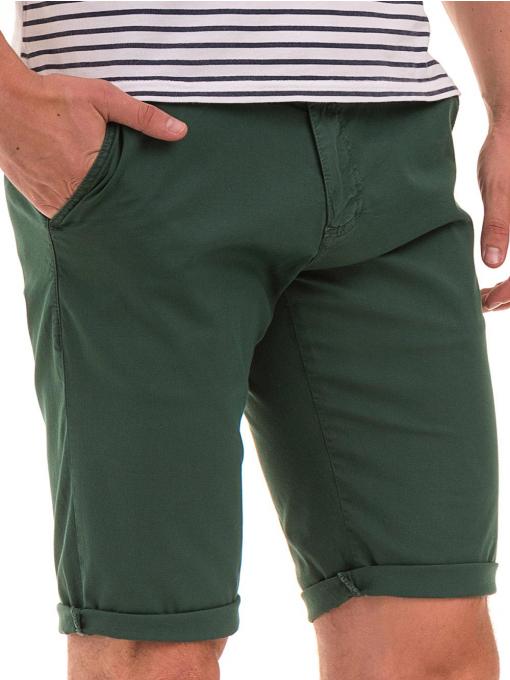 Мъжки спортно-елегантни бермуди ELECTRA 11101- тъмно зелени D