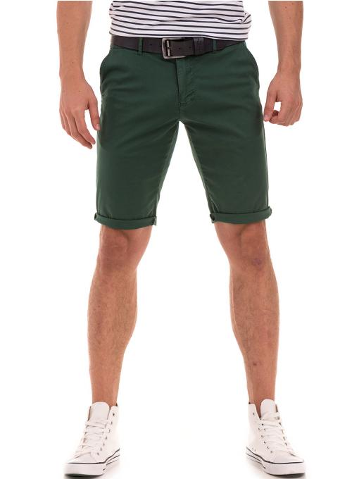 Мъжки спортно-елегантни бермуди ELECTRA 11101- тъмно зелени