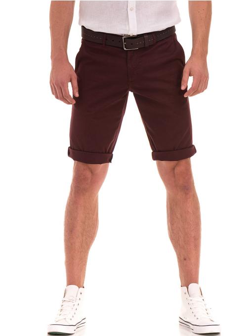 Мъжки спортно-елегантни бермуди ELECTRA 11101 - цвят бордо