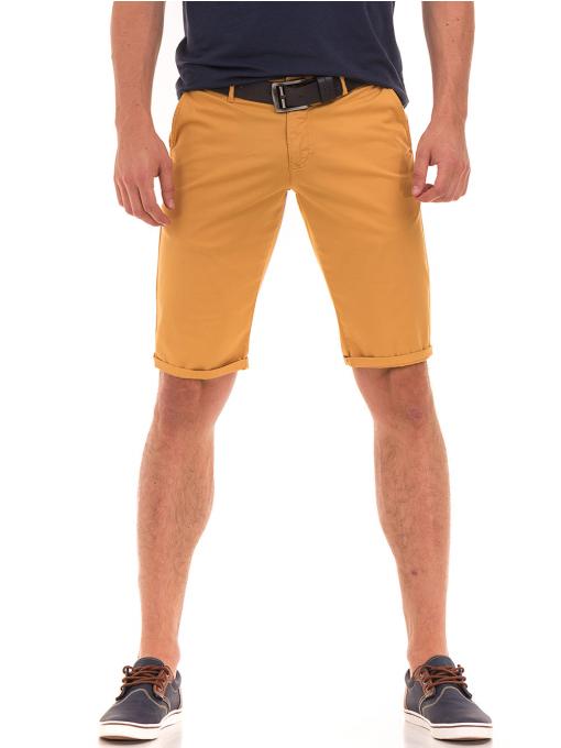 Мъжки спортни-елегантни бермуди ELECTRA 11101 - цвят горчица