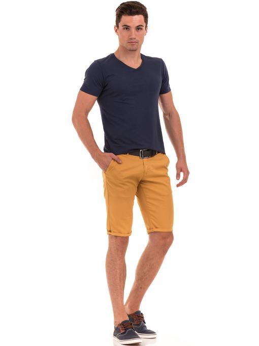 Мъжки спортни-елегантни бермуди ELECTRA 11101 - цвят горчица C