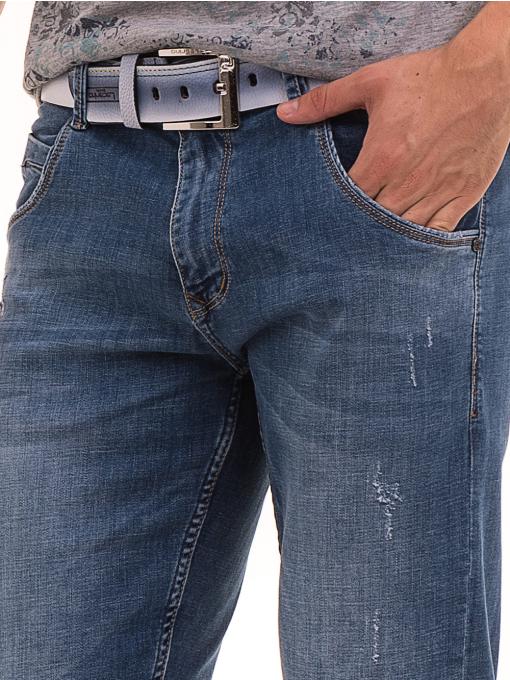 Мъжки дънкови бермуди LACARINO с колан 4476 - деним D