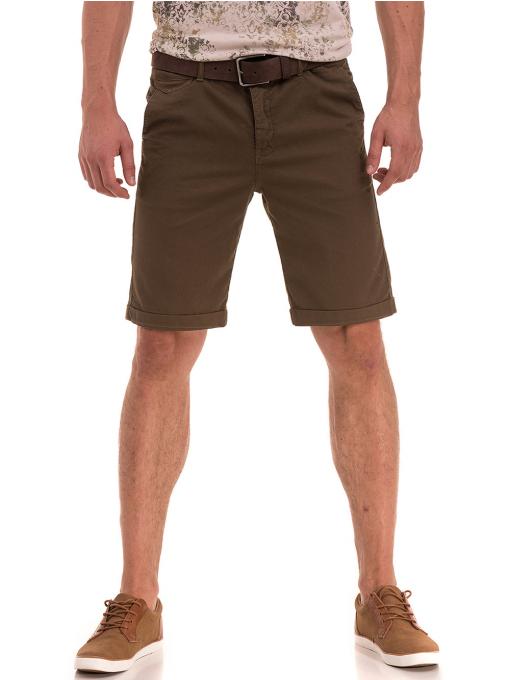Мъжки спортно-елегантни бермуди XINT 204- цвят каки