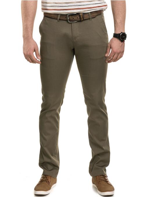 Мъжки спортно-елегантен панталон BRN 7207 - цвят каки