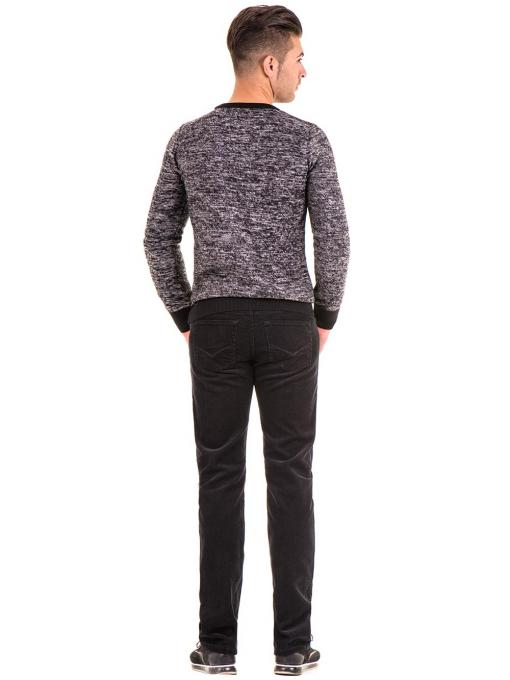Класически мъжки памучен панталон 8346 - черен