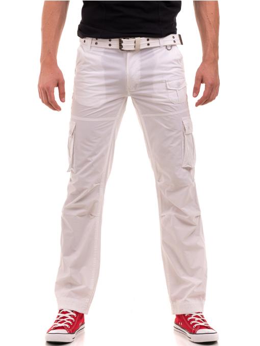 Мъжки спортен панталон JUNKER с колан 35442 - бял