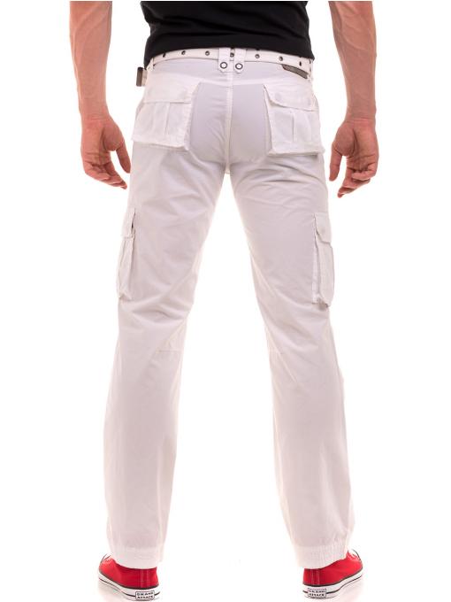Мъжки спортен панталон JUNKER с колан 35442 - бял B