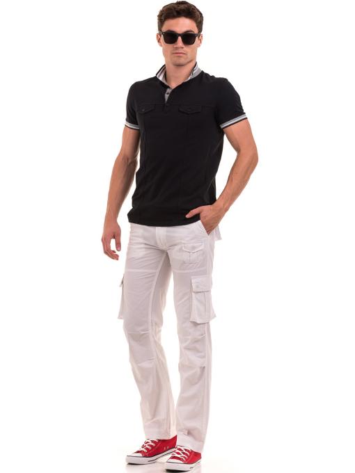 Мъжки спортен панталон JUNKER с колан 35442 - бял C