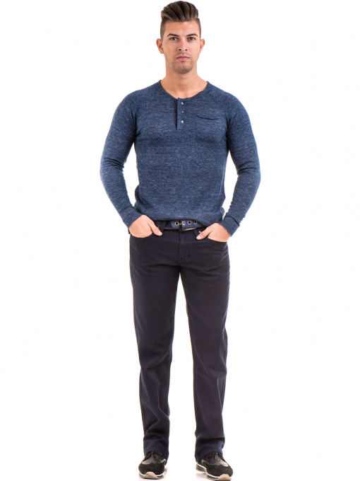 Мъжка блуза фино плетиво XINT 073 - тъмно синя C1
