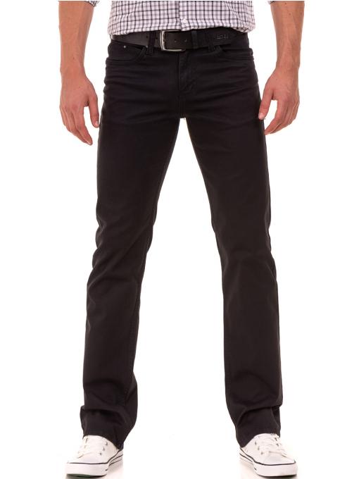 Класически мъжки панталон  LACARINO с колан 3071 - тъмно сив
