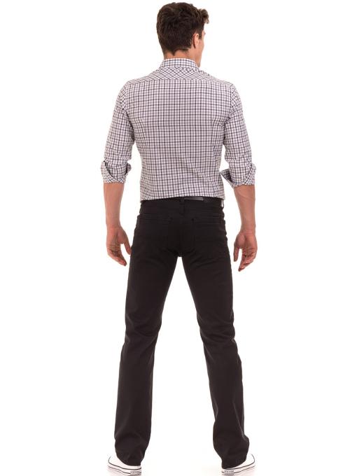 Класически мъжки панталон  LACARINO с колан 3071 - тъмно сив E