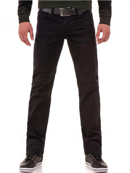 Класически мъжки прав панталон LACARINO с колан 3671 - черен