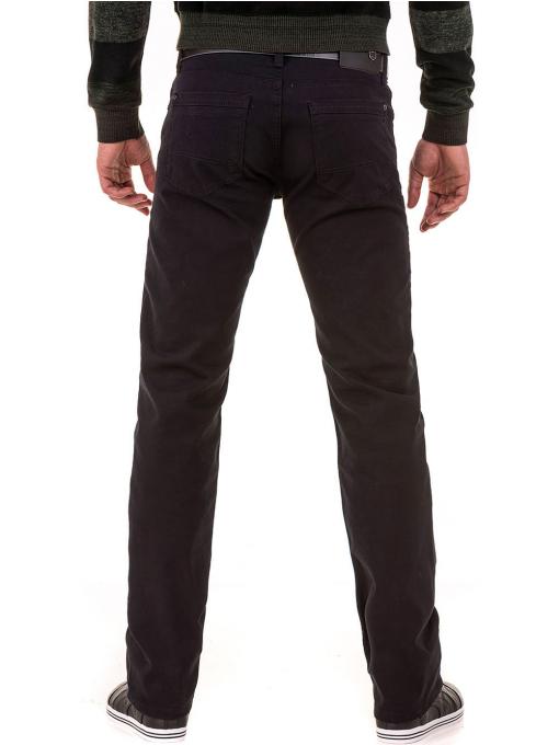 Класически мъжки прав панталон LACARINO с колан 3671 - черен B