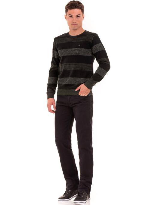 Класически мъжки прав панталон LACARINO с колан 3671 - черен C