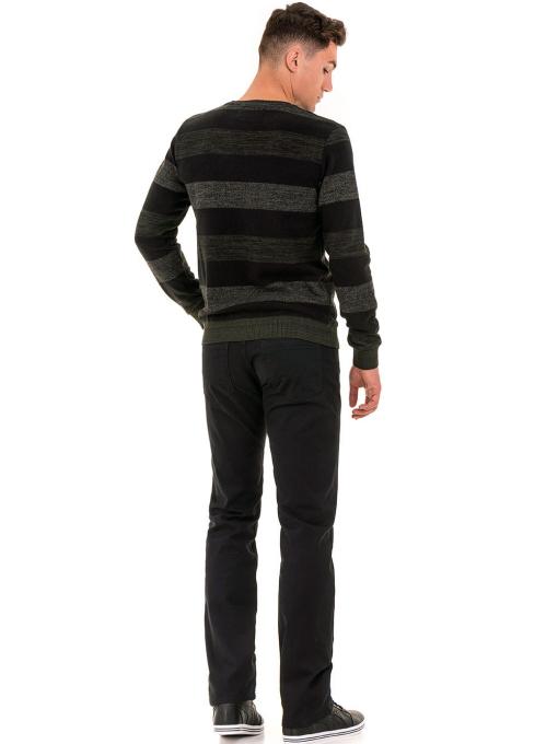 Класически мъжки прав панталон LACARINO с колан 3671 - черен E