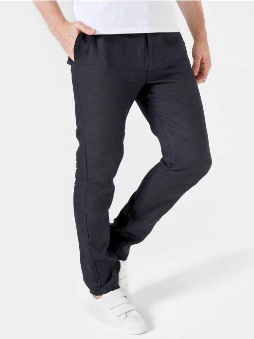 Дълъг мъжки ленен панталон - черен  100532 INDIGO Fashion