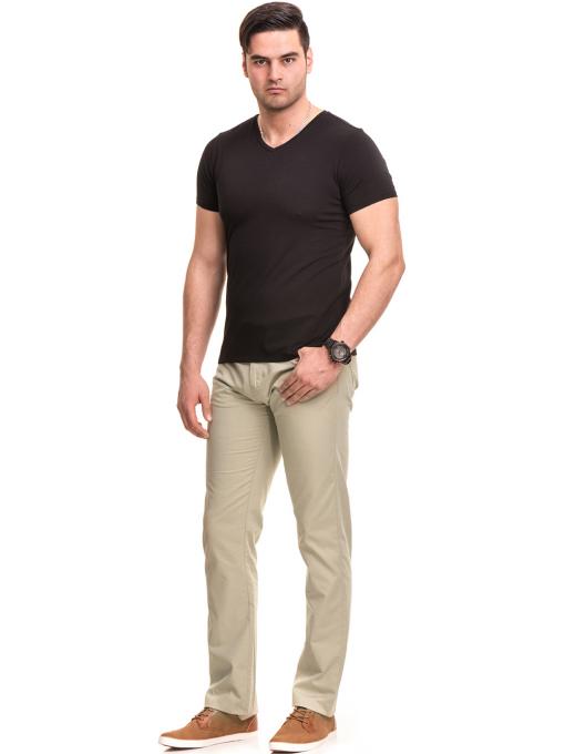 Мъжки спортно елегантен панталон XINT 417 - светло бежов C