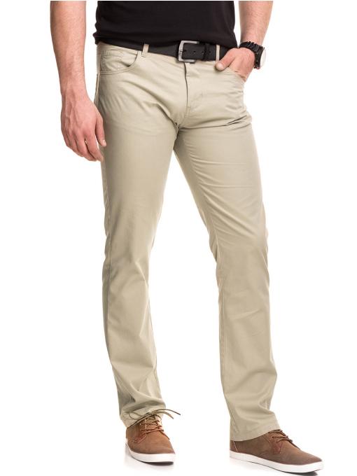 Мъжки спортно елегантен панталон XINT 417 - светло бежов