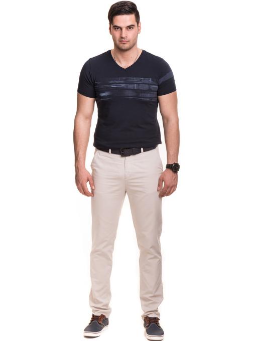 Мъжки спортно елегантен панталон XINT 470 - светло бежов C