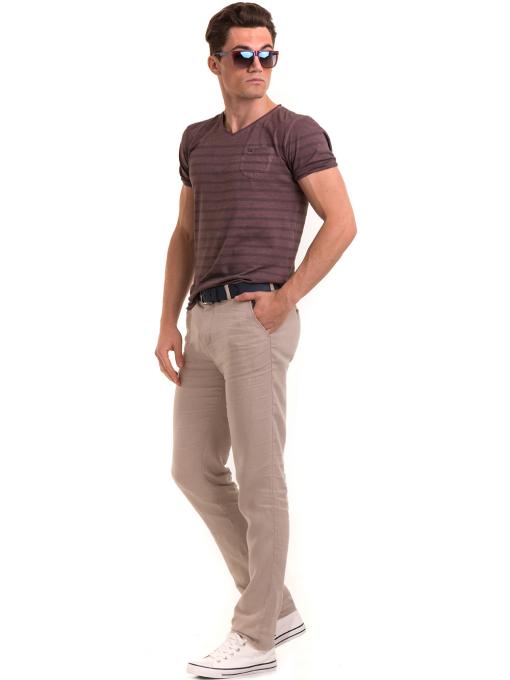 Класически мъжки ленен панталон XINT 484 - светло бежов C
