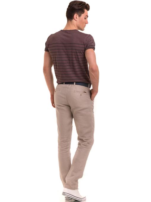 Класически мъжки ленен панталон XINT 484 - светло бежов E