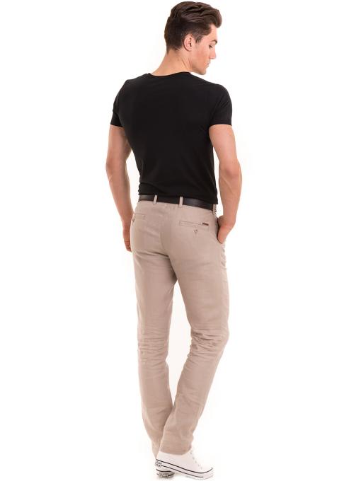 Класически мъжки ленен панталон XINT 484 - светло бежов E1