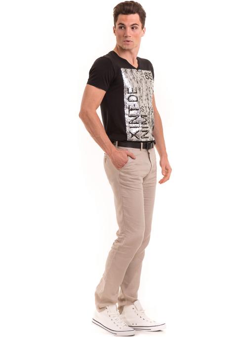 Класически мъжки ленен панталон XINT 484 - светло бежов C1