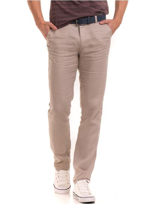 Класически мъжки ленен панталон XINT 484 - светло бежов