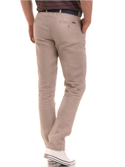 Класически мъжки ленен панталон XINT 484 - светло бежов B
