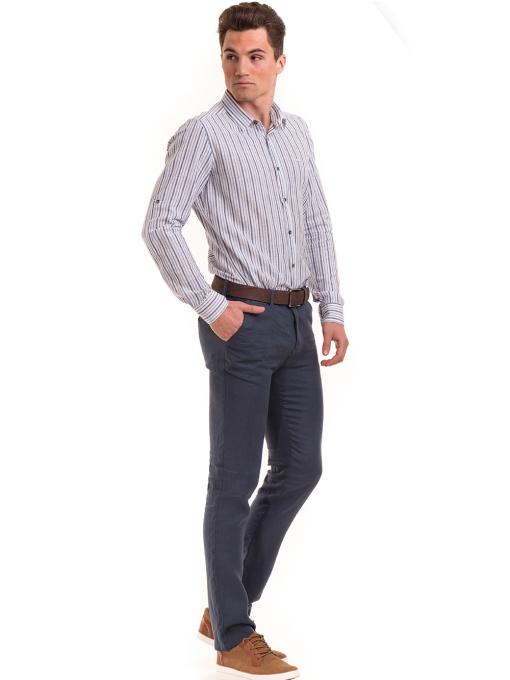 Класически мъжки ленен панталон XINT 484 - син C