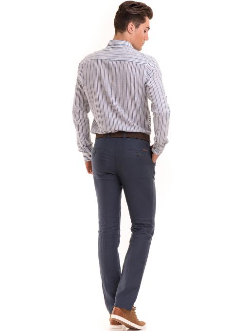 Класически мъжки ленен панталон XINT 484 - син E