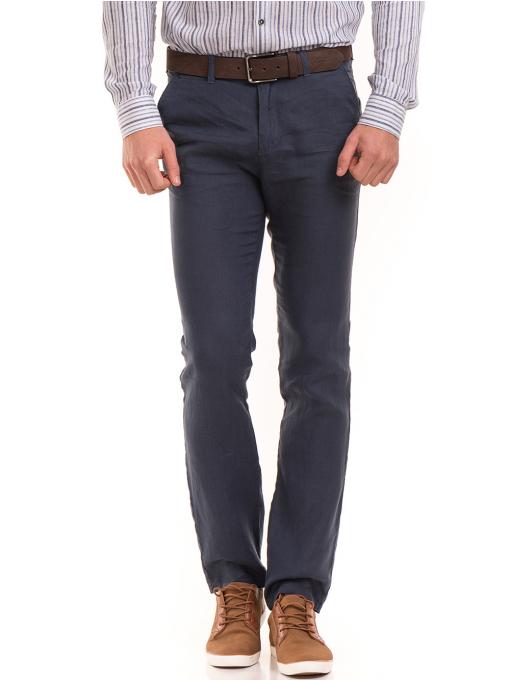 Класически мъжки ленен панталон XINT 484 - син