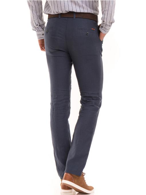 Класически мъжки ленен панталон XINT 484 - син B