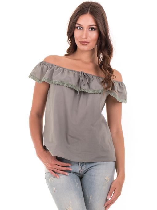 Дамска блуза свободен модел JOVENNA 2125 - каки