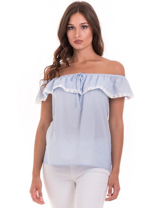 Дамска блуза свободен модел JOVENNA 2125 - светло синя