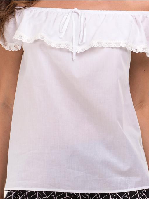 Дамска блуза свободен модел JOVENNA 2125 - бяла D