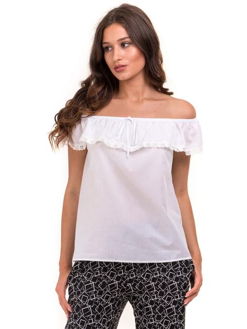 Дамска блуза свободен модел JOVENNA 2125 - бяла