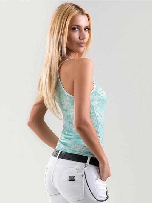 Светло зелен дамски топ с флорални мотиви15924 INDIGO Fashion