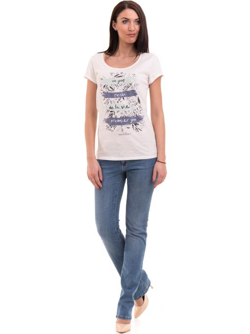 Дамска тениска с обло деколте FASHION FRIENDS 496 - цвят екрю C