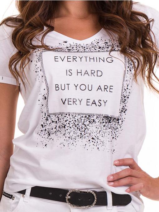 Дамска тениска с надпис и щампа JOGGY GIRLS 6110 - бяла D