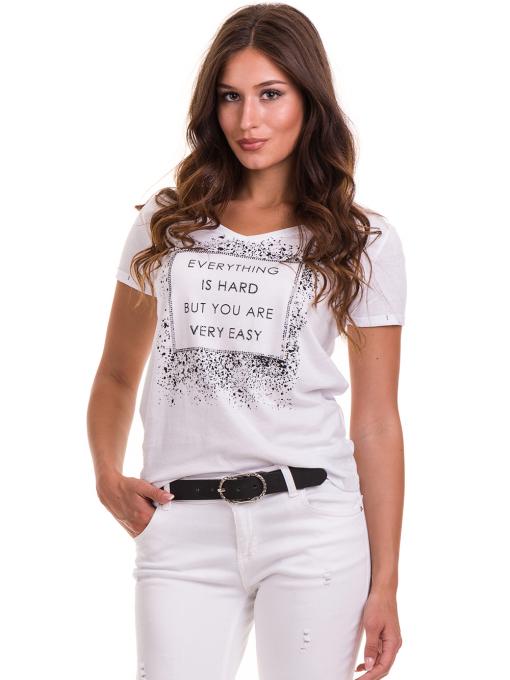 Дамска тениска с надпис и щампа JOGGY GIRLS 6110 - бяла