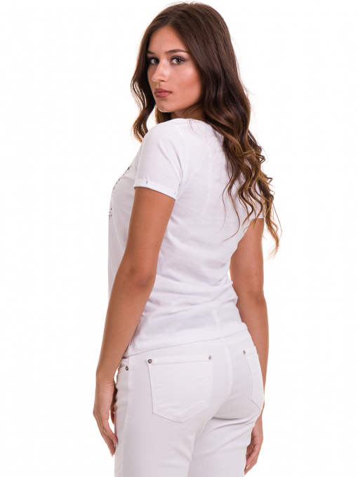 Дамска тениска с надпис и щампа JOGGY GIRLS 6110 - бяла B