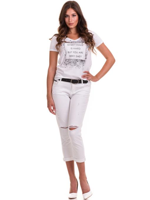 Дамска тениска с надпис и щампа JOGGY GIRLS 6110 - бяла C