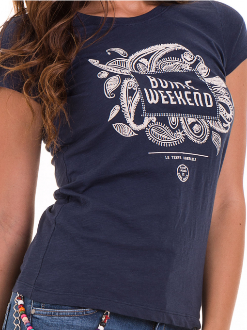 Дамска тениска с надпис и щампа JOGGY GIRLS 6112 - тъмно синя D