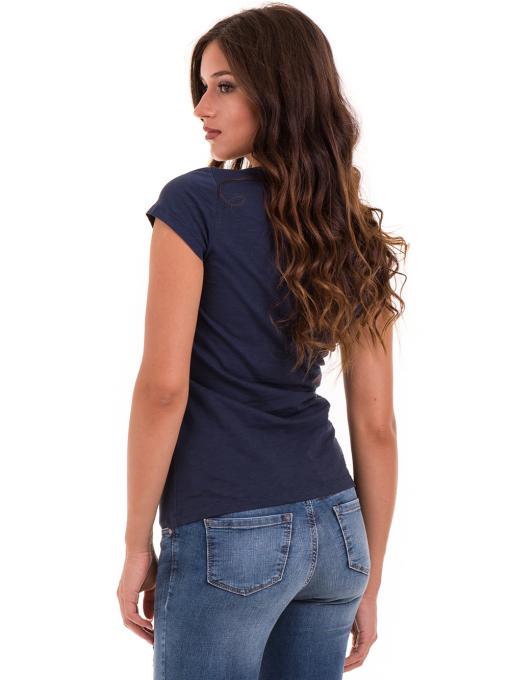 Дамска тениска с надпис и щампа JOGGY GIRLS 6112 - тъмно синя B