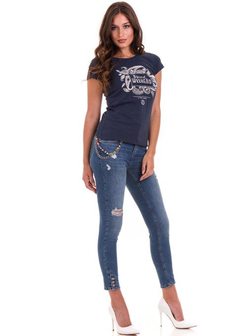 Дамска тениска с надпис и щампа JOGGY GIRLS 6112 - тъмно синя C